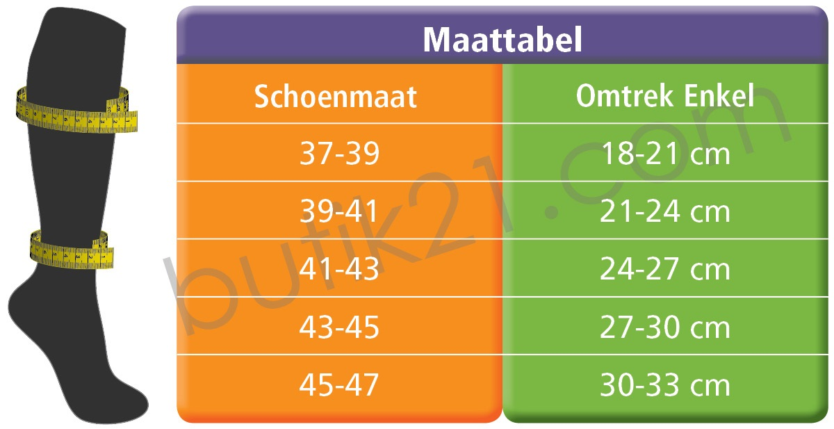 Maattabel steunkousen - Swedish Supporters unisex