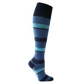 Supcare Gestreepte steunkousen: blauw & turquoise