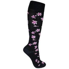The Doctor Recommends Zwarte steunkousen met bloemen