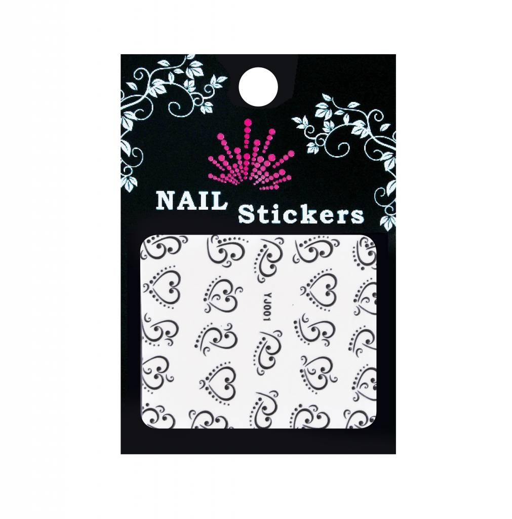 Bell'ure Nail Art Sticker Hearts Black