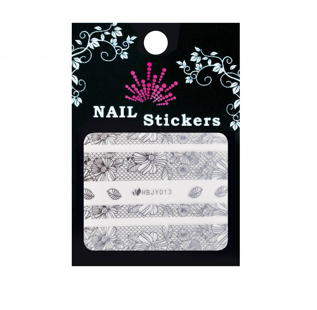 Bell'ure Nail Art Sticker Lace & Flowers Silver