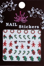 Bell'ure Nail Art Sticker Christmas Candy Cane