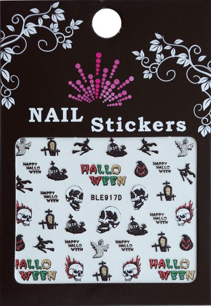 Bell'ure Nail Art Sticker Halloween Skulls On Fire