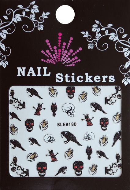 Bell'ure Nail Art Sticker Halloween Spiders & Skulls
