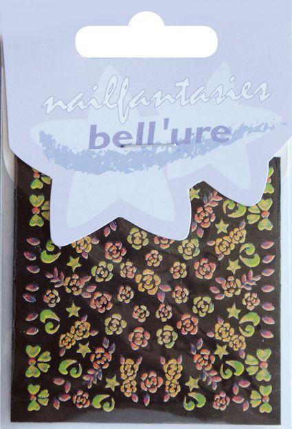 Bell'ure Nail Art Sticker Gold Metallic Flowers