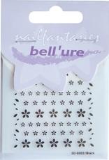 Bell'ure Nail Art Sticker Black Flowers