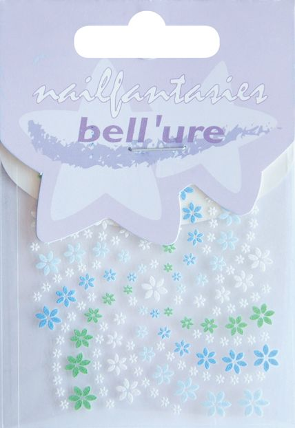 Bell'ure Nail Art Sticker Blue & Green Flowers