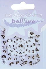 Bell'ure Nail Art Sticker Hearts Black & Silver