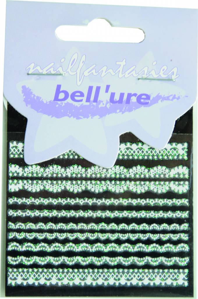 Bell'ure Nail Art Sticker Lace White & Green