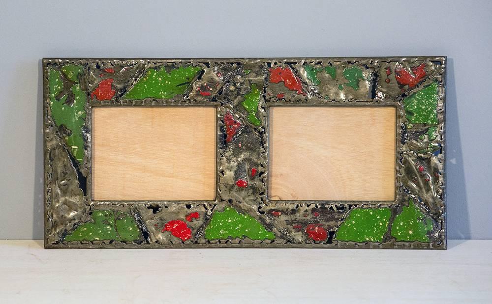 bilderrahmen f r 2 fotos recycelt aus emaille. Black Bedroom Furniture Sets. Home Design Ideas