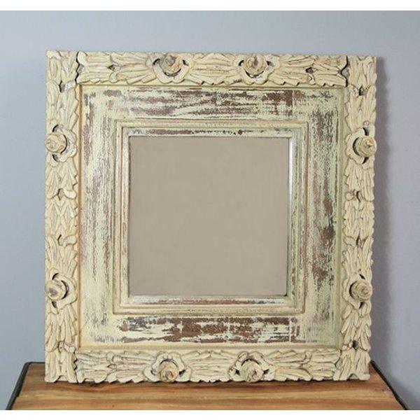 Spiegel Ajmer mit Holzrahmen, 53 x 53 cm