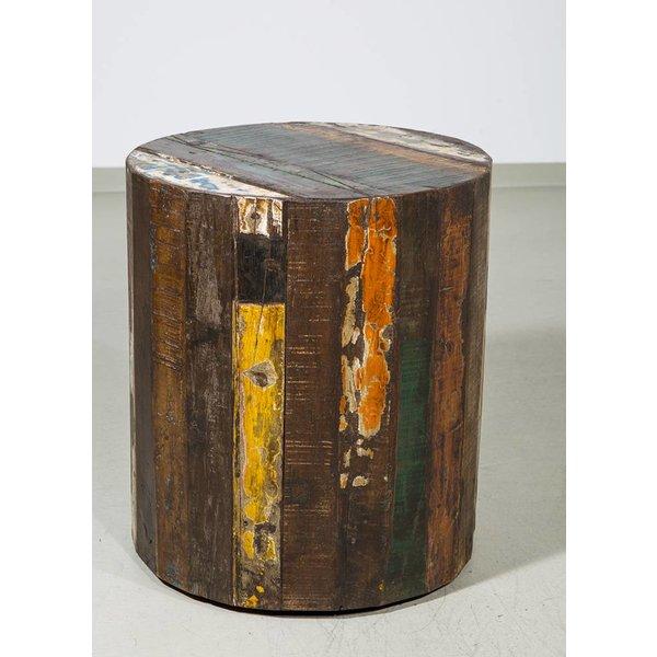 beistelltisch rund aus altholz auf rollen durchmesser 40. Black Bedroom Furniture Sets. Home Design Ideas