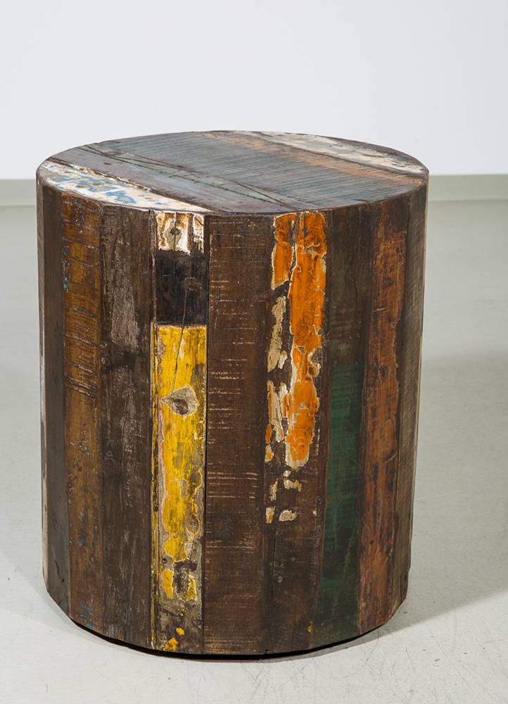 beistelltisch rund aus altholz auf rollen durchmesser 40 cm. Black Bedroom Furniture Sets. Home Design Ideas