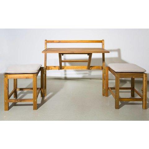 Kombination: Bank & Tisch mit 2 Hockern