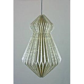 Papierlampe Origami, s/w bedruckt II