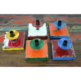 Kerzenhalter Burkin, Ölfassblech, 14 cm