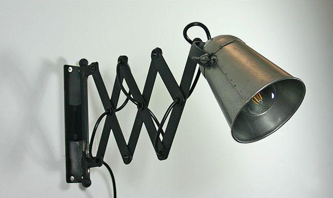 wandlampe im industriedesign aus altmetall. Black Bedroom Furniture Sets. Home Design Ideas