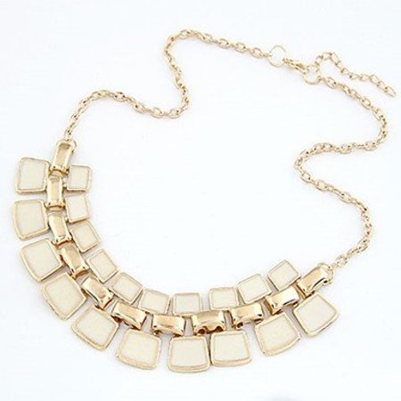 Party ketting gold-tone met wit-beige stones