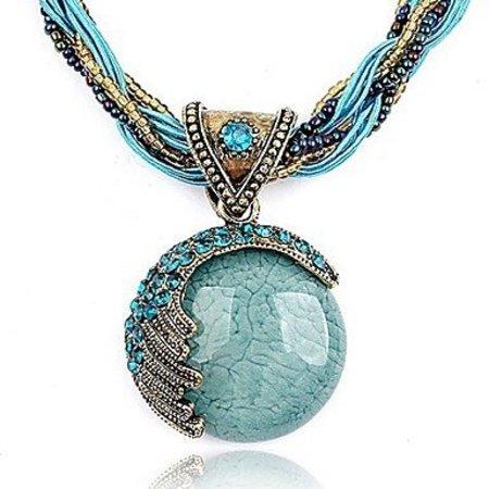 Bohemian ketting met blue turquoise stones