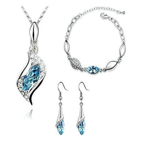 Jewelry set with Austrian crystal baby blue diamond