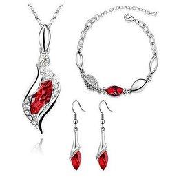 Sieraden set met Oostenrijkse kristal diamant rood