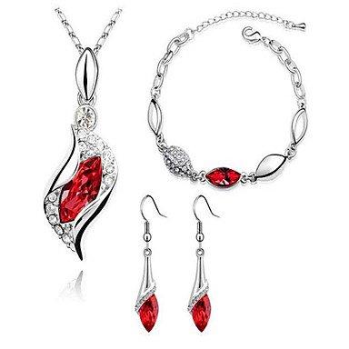 Sieraden set van Oostenrijkse kristal diamant,rood,ModaMarie Import Unieke top kwaliteit voor kleine prijs.