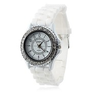 Trendy Womens Silicone bracelet Quartz Analog Watch White