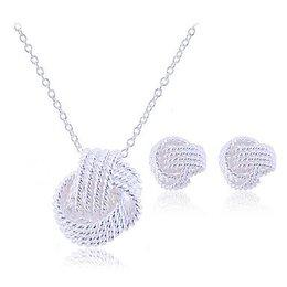 Dames sieraden set gevlochten knoop sterling silver