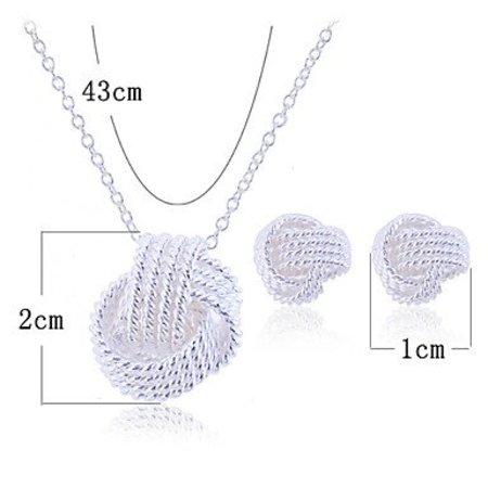 Dames verzilverd sterling zilver gevlochten knoop sieraden set