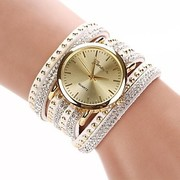 Ladies Watch with circuit flocking tie White