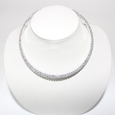 Halsketting met dubbele rij kristallen
