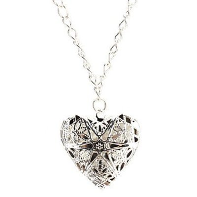 Silver necklace with hollow heart