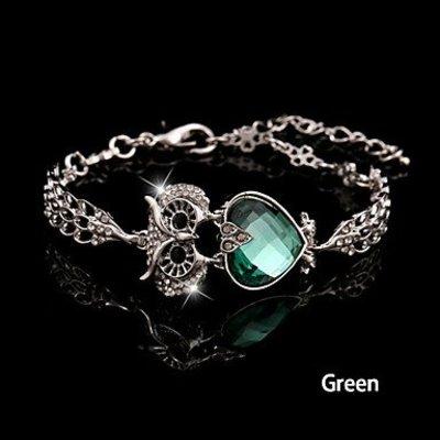 Armband met ketting / sluiting/Vintage met wit Groen zirkonia