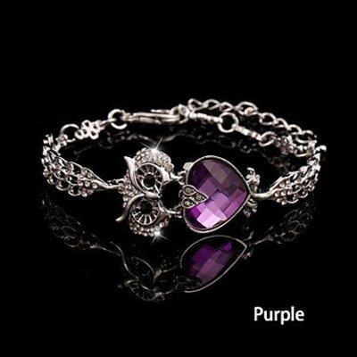 Armband met ketting / sluiting/Vintage met wit paars zirkonia