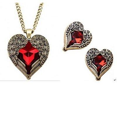 Vintage sieraden set met Rode Kristallen, edelsteen