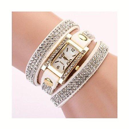 Rechthoekige dames horloge met bergkristalle wit