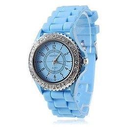 Dames horloge Quartz silicone band analog Baby Blauw