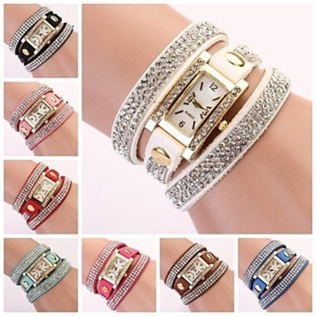 Rechthoekige dames horloge met bergkristalle blauw