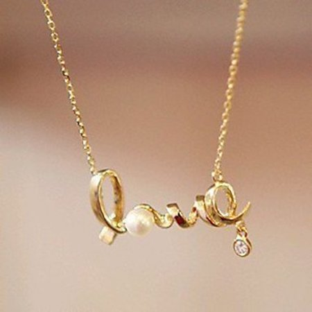 Love letters hangertje ketting gold tone met pareltje