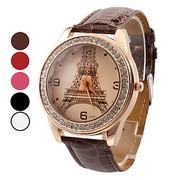 Trendy ladies watch with Eiffel Tower brown