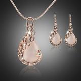 Rose gold tone met zirkonia kristallen sieraden set