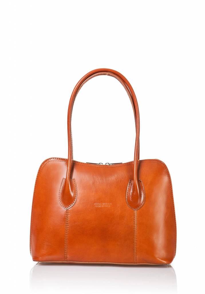 Weekend Tassen Dames : Elegante leder handtas cognac kleur met dubbele handvatten