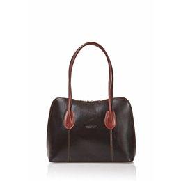 Leder handtas Zwart met bruin kleuren uit Italië