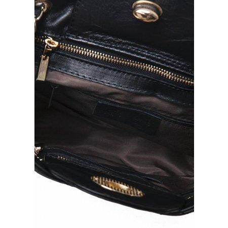 Schouder tas van leder uit Italië Zwart met goud kleur gevlochten ketting
