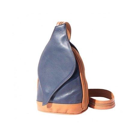 Rugzak tas, met bladvormige flap donker blauw cognac van kalfleder
