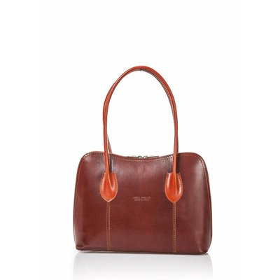 Handbag leather from Italy with brown and natural brown color