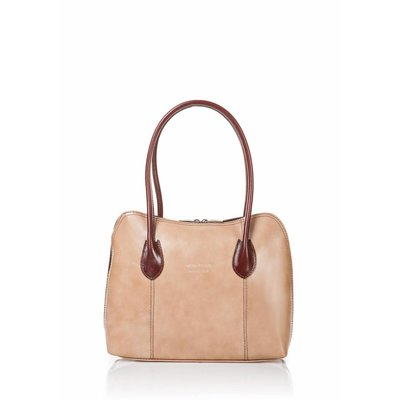 Handbag leather from Italy with beige and brown color