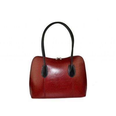Leder handtas / schoudertas Rood met Zwart kleur uit Italië