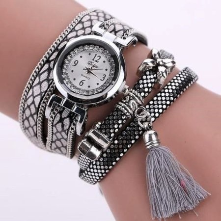 Horloges Armband lovertjes kwastje Casual Analog zilver tone