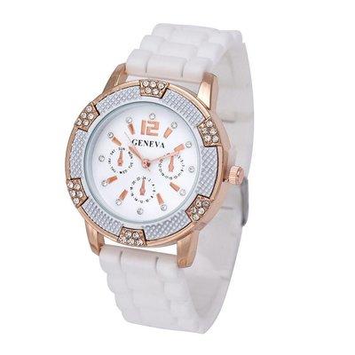 Horloge met wit silicone band met kristalen rose gold tone